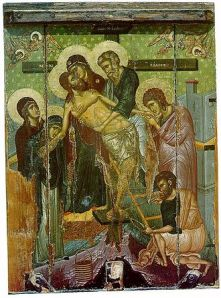 14th century Byzantine Icon of the Descent from the Cross from the Church of Saint Marina in Kalopanagiotis, Cyprus. St. Joseph of Arimathea is the figure standing in the center, in blue-green robes holding the Body of Christ.