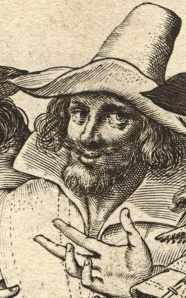 Guy Fawkes (a.k.a. Guido Fawkes), cropped detail from a contemporary engraving of the Gunpowder Plotters. The Dutch artist probably never actually saw or met any of the conspirators, but it has become a popular representation nonetheless. - National Portrait Gallery, London