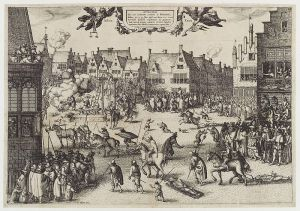 The execution of Guy Fawkes' (Guy Fawkes), by Claes (Nicolaes) Jansz Visscher, given to the National Portrait Gallery, London in 1916.