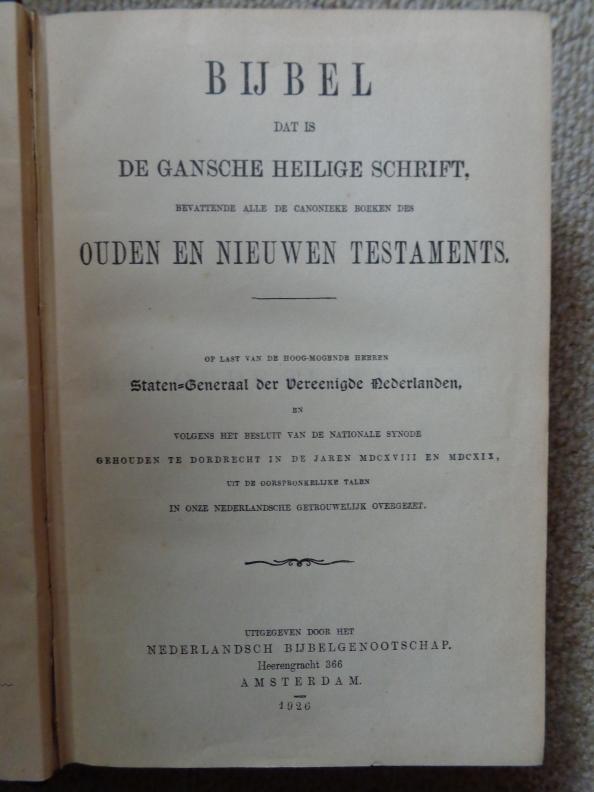 Bijbel Staten Generaal der Verenigde Nederlanden 1926